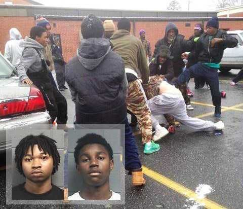 Dozens of black teens attack five white victims while screaming racial slurs near Macon, Georgia - If races were reversed this would be a major national news story. About 30 BLACK teenagers in Warner Robins, GA celebrated snow day by rioting & committing racially motivated hate crime mob attack. 5 WHITE adults were brutally attacked by the mob. One female victim had an infant baby w/ her. The thugs posted photo on internet to gloat about the attacks.