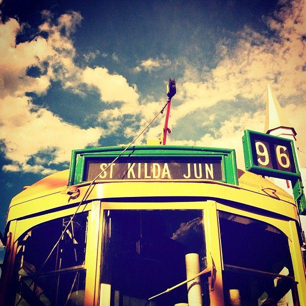 Vintage tram on display at the Luna Park St Kilda --