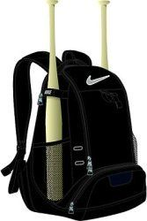 Nike Baseball Bat Backpack - Black by Nike. $40.00. Comfortable and mobile baseball bat backpack. Durable material holds up to regular use. Dual bat sleeves secure your primary and back up bats. Separate shoe compartment keeps your muddy cleats away from your gear. Sealed batting glove pocket. Easy-access accessory pocket.