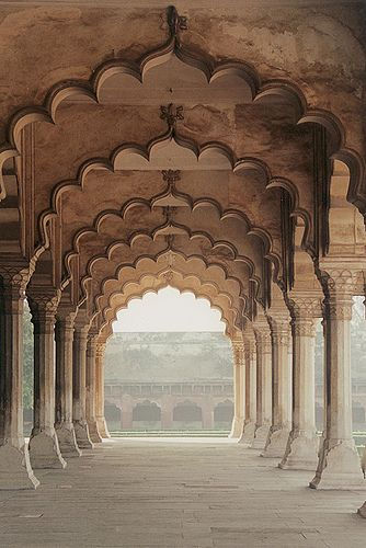 Arches inside the Red Fort in Agra, India