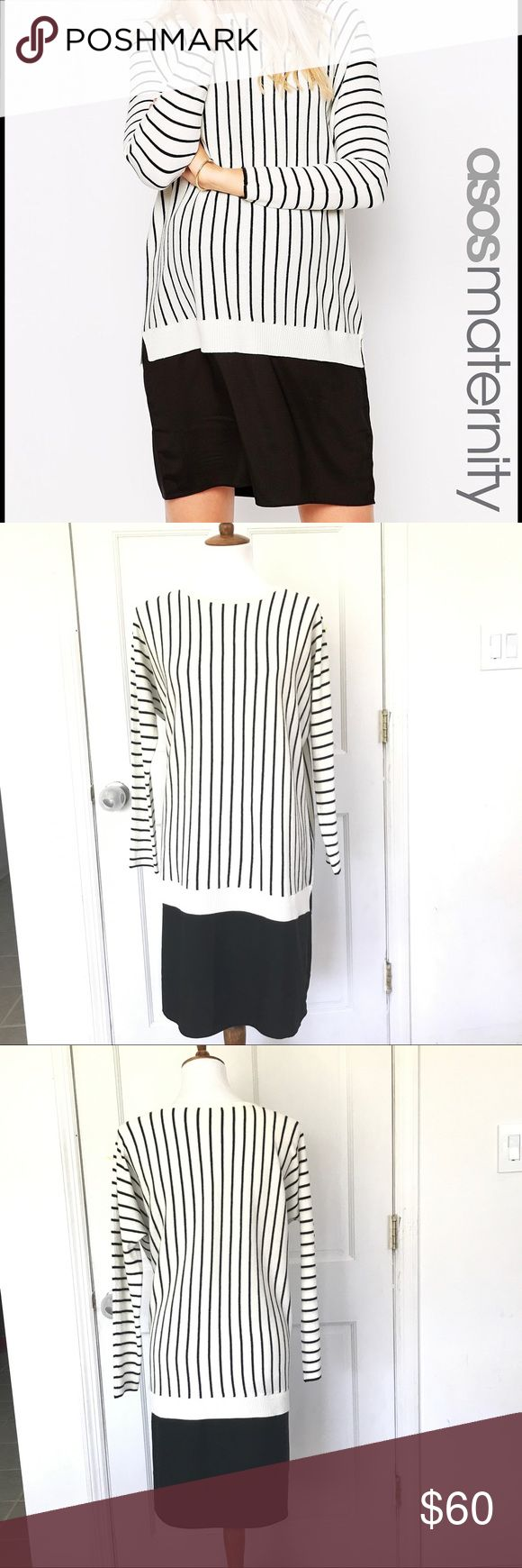 Asos black and white striped maternity dress New with tags super cute striped Asos maternity dress. Soft and stretchy. Size 6. Reasonable offers welcome. Please no trades or off site selling. Thank you. ASOS Maternity Dresses Long Sleeve
