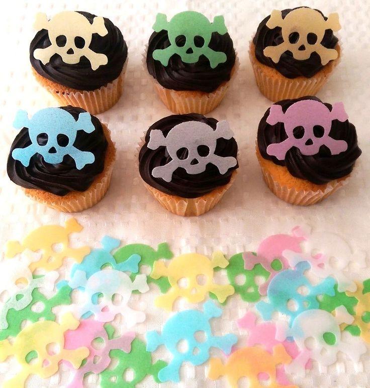 24 Edible Pirate Skull & Crossbones Halloween Cupcake Topper Cake Decoration
