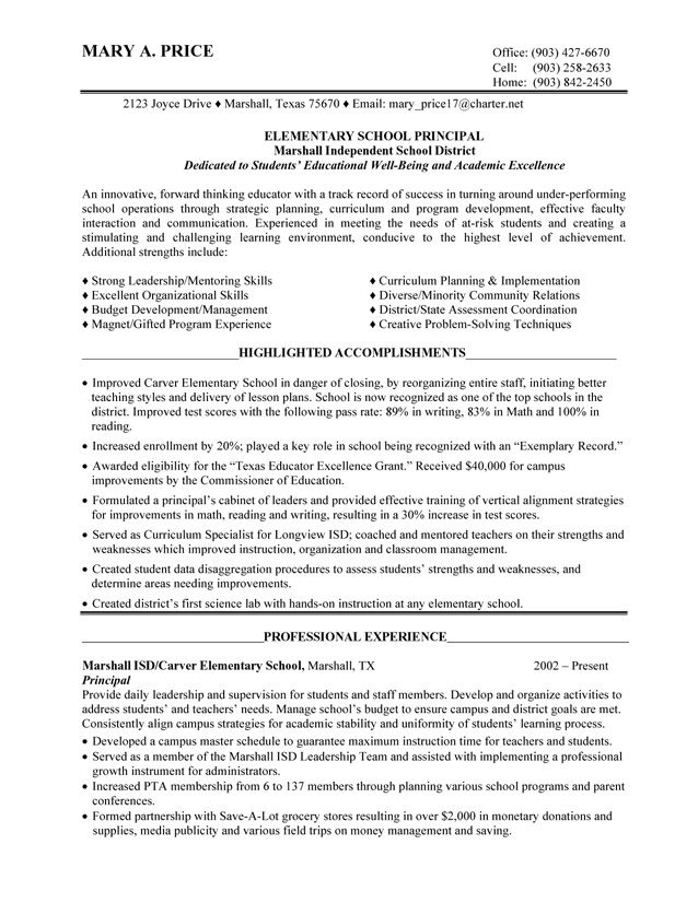 28 best Principal resume images on Pinterest Cover letter sample