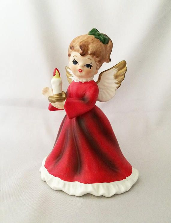1950s Porcelain Angel with Candle, Vintage Napcoware Christmas Decorations
