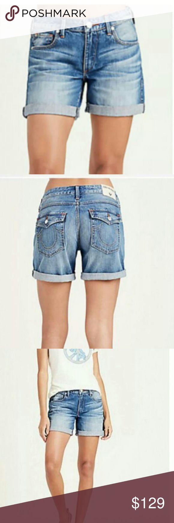 🔅True Religion EMMA low rise Bermuda shorts BNWT! 🔅True Religion EMMA low rise Bermuda short with flap (fold at hem)  💯Authentic AND BRAND NEW WITH TAGS  🔅Sealed still in original package! For serious buyers I will unpack for full measurements if requested  🔅Sold out everywhere  🔅Color Blues Fest (looks lighter in stock photos). Size 25.  💌Free gift with purchase. Offers considered. True Religion Shorts Jean Shorts