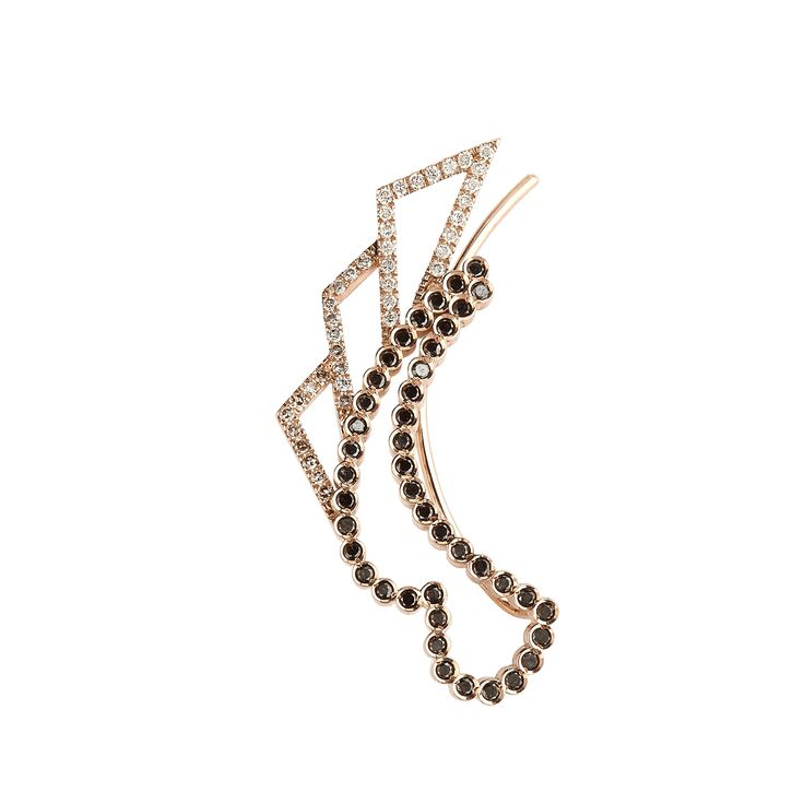 """Juliet"" single earring with white, grey, brown and black diamonds www.lito-jewelry.com"