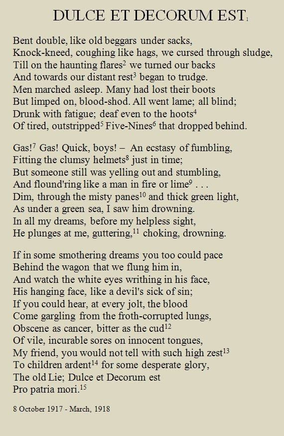 Dulce et Decorum Est Wilfred Owen | p|o|e|t|r|y | Poetry, Wilfred