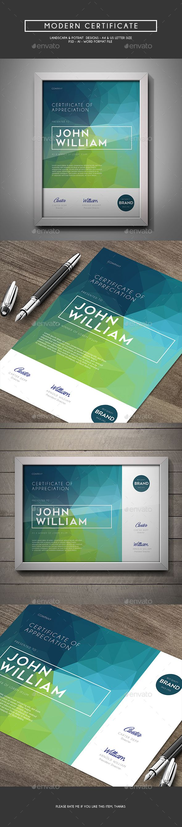 Modern Certificate Template PSD, Vector AI #design Download: http://graphicriver.net/item/modern-certificate/14525170?ref=ksioks