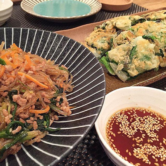 hi_rose80 on Instagram pinned by myThings Today's dinner .  チャプチェとニラチヂミでこんばんは☺︎ .  チャプチェはいつも牛肉使うけど、お給料日前なので豚ひき肉で〜 これもまた美味しい♡ . .  #dinner #homemade #koreanfood #foodie #foodpic #foodporn #夕飯#夕食#晩ごはん#おうちごはん#韓国料理#チャプチェ#チヂミ#kaumo #kurashirufood #delistagrammer #デリスタグラマー #クッキングラム#新米ママ #男の子ママ #生後8ヶ月 #8ヶ月 #5月生まれ