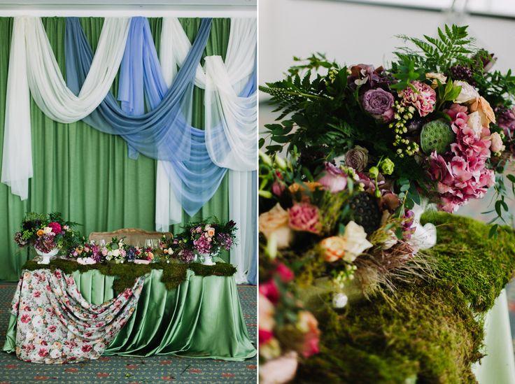 FairyTale wedding Eco Vintage: Hydrangea, sedum, roses, phaleonopsis, pistacio, cornation, eustoma Lilac, green VPUDRE