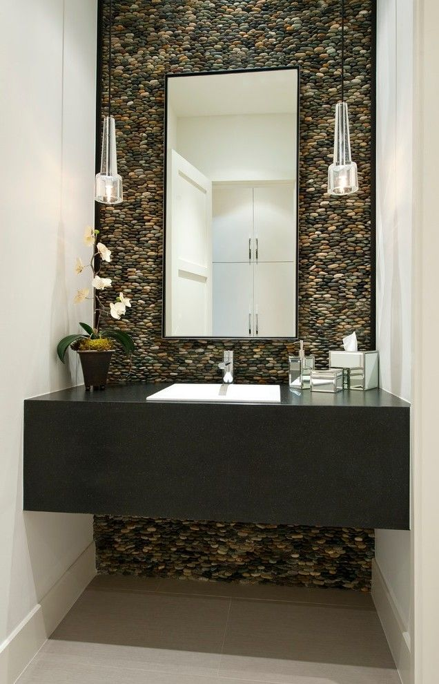 Sliced Pebble Tile Bathroom Traditional with Vessel Sinks Shower Pans and Bases