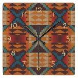 Orange Brown Red Teal Blue Tribal Mosaic Pattern Square Wall Clocks  #blue #Brown+ #clocks #Mosaic #Orange #Pattern #RusticClock #Square #Teal #Tribal #Wall The Rustic Clock