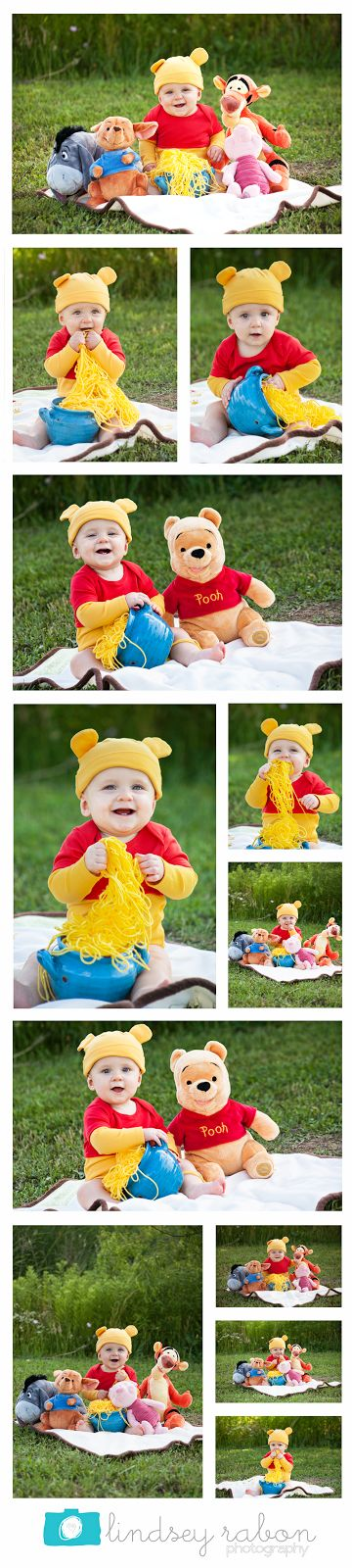 Winnie the Pooh photo shoot | Lindsey Rabon Photography. Baby photos, 9 month, pooh, boy, outdoor portraits, stylizized