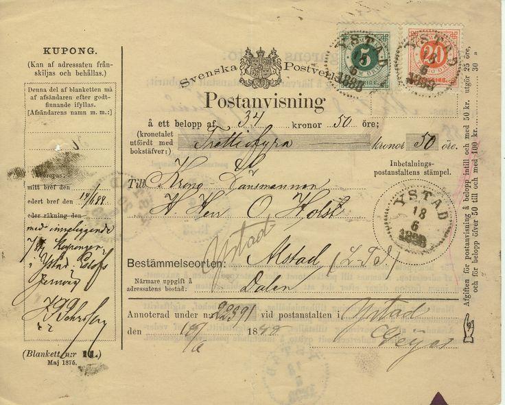 Postanvisning 1888 Ystad