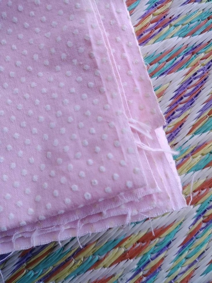 Vintage 1960s Pink Flocked Fabric Dotted Swiss Cotton 43