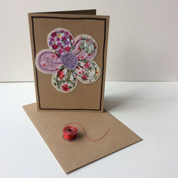 Handmade card with free motion embroidery by Doodlebobbin on Etsy