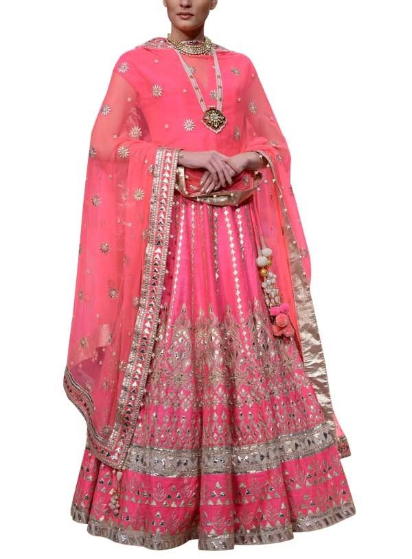 Pink Gotta Patti Embroidered Lehenga Set