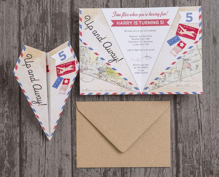 Paper Airplane Vintage Personalised Kids Birthday Party Invitations. DIY Printable PDF or Printed & Delivered.