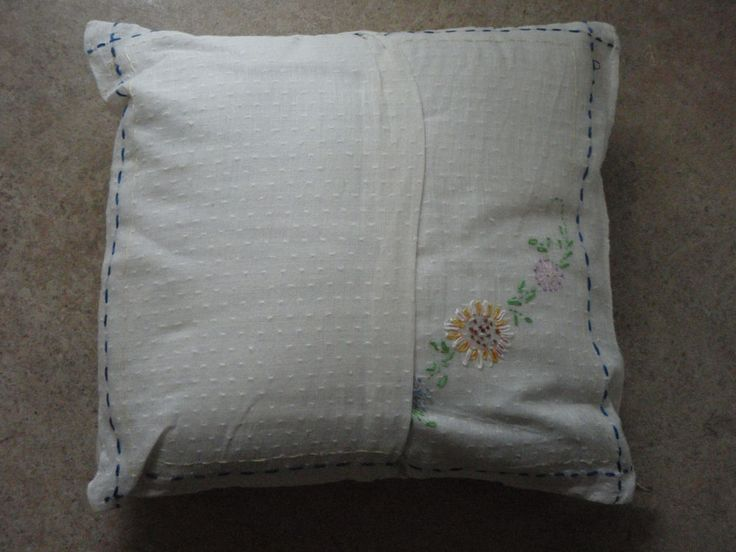 """Vintage Linen Embroidery Baby Pillow Case Handmade White Cotton Dotted Swiss 10"""""""