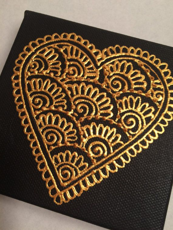 Henna Style Painted Heart Canvas by HennaOnHudson on Etsy More
