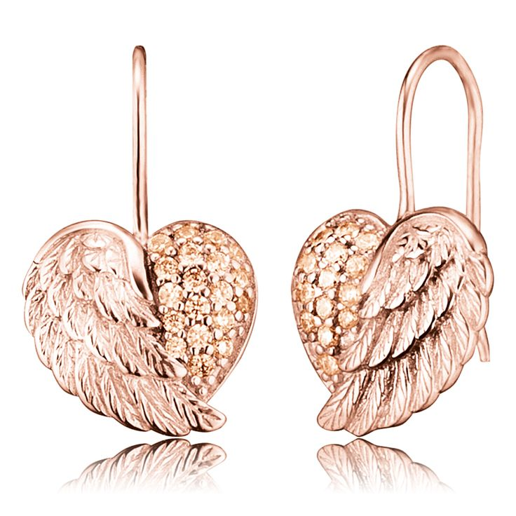 Earrings heartwing crystal rose - $103.00 Click to open. There are earrings now jewels of the month. Earrings trimmed with 38 crystal stones in high-quality handcraft. Made of rose plated 925 sterling silver.