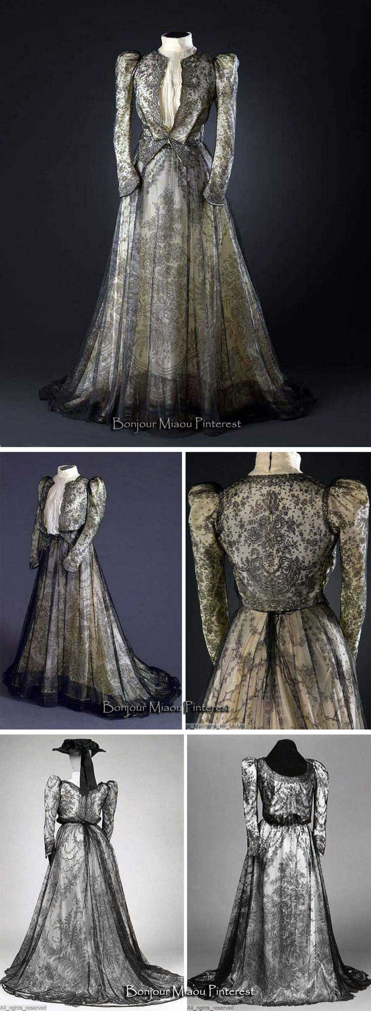 Dress ca. 1900-10. Black silk Chantilly bobbin lace with floral motifs. Mode Museum, Antwerp