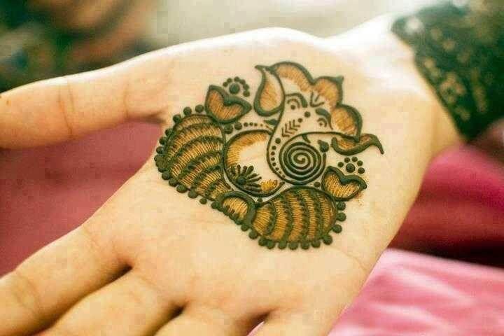 Lord Ganesha mehndi art for hand