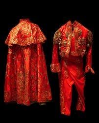 bullfighting costume, red/gold
