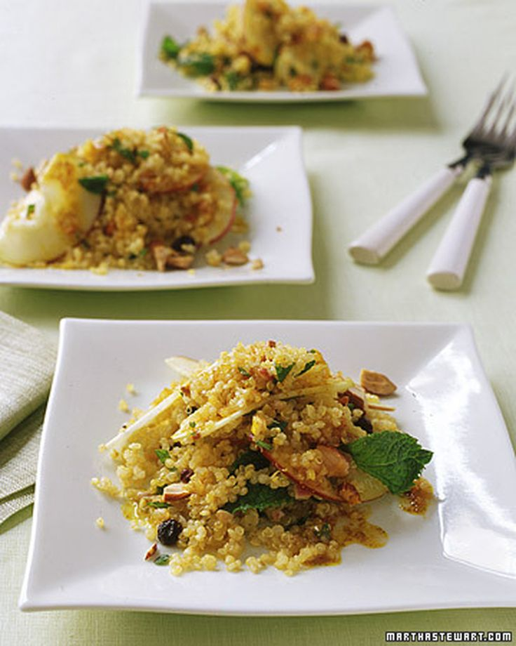 Quinoa-and-Apple Salad with Curry Dressing | Martha Stewart Living - Crisp apples and crunchy toasted almonds provide a nice variety of textures in this warm salad.