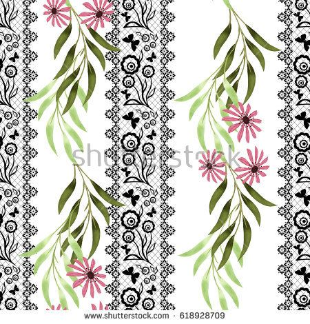 Colorful floral watercolor seamless illustration.  hand drawn pink flowers on a white background with vertical black decorative stripes.