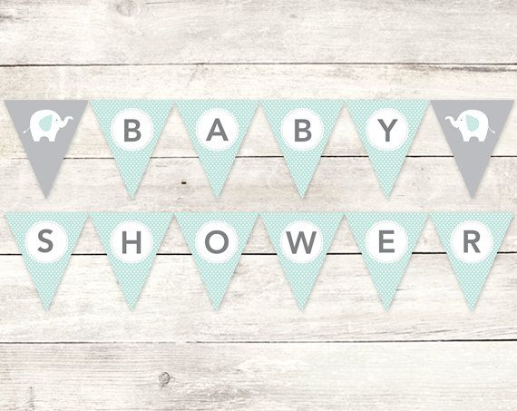 baby shower banner printable diy bunting banner fox green grey gender