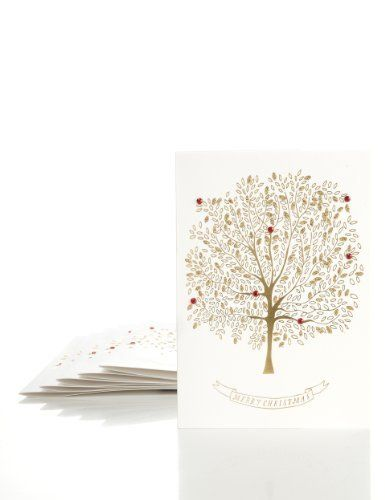 8 Gold Tree Luxury Christmas Multipack of Cards-Marks & Spencer - Dimensions: L127 x H178mm - £5.00