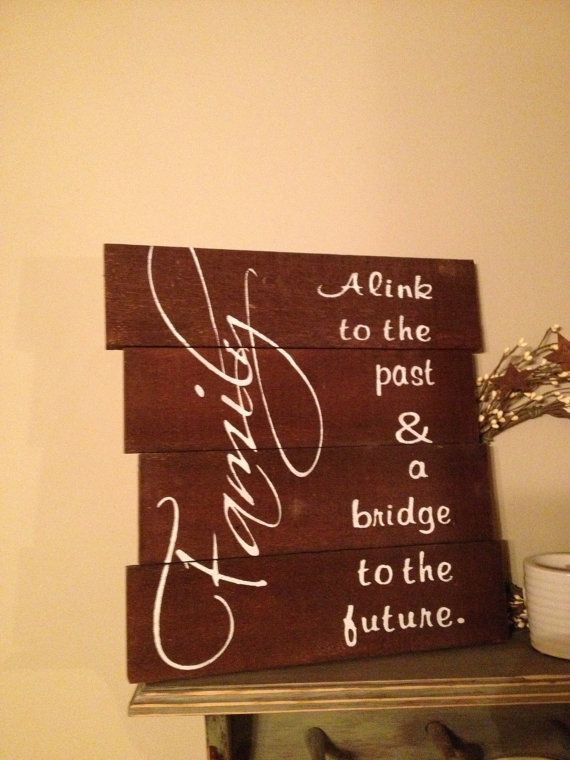 Rustic wood sign 14 x 14 Family a link to by PrimitiveSignsNSuch, $40.00