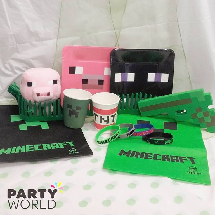 Minecraft is our most popular party theme! We have wide range of tableware, balloons, loot bags, plush toys and other party favours! Mix and match with our plain green & black products!  #minecraft #partyworldnz #party #ideas #partyideas #birthday #wedding #babyshower #disney #balloons #decoration #tableware #kids #adult #theme #shop #online #nz #newzealand #endermann #pig #creeper #games
