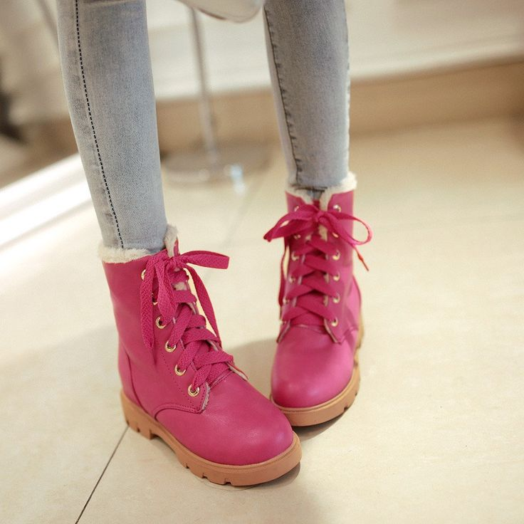 Lace Up Snow Boots with Fur Ankle Boots New 2016 9581