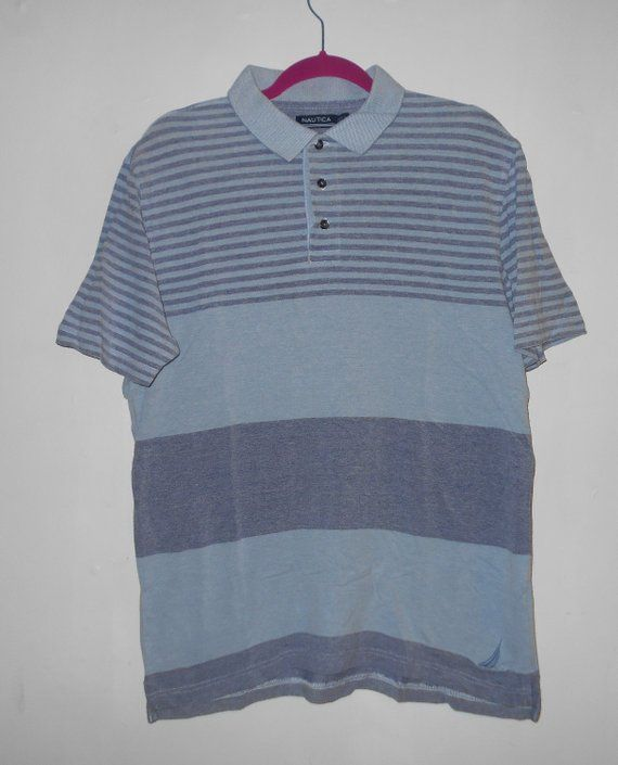 567d7737 Mens Nautica Polo shirt pull over longer back SIZE Large blues casual  vintage 90s clothing