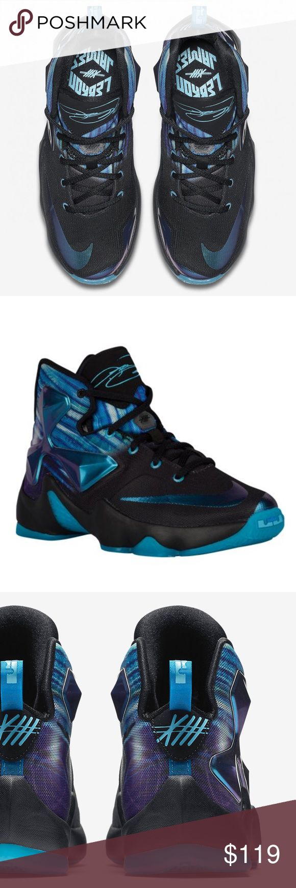 Lebron James GS 13 New!!!! Never worn!! I don't have the box any more tho. Nike LeBron 13 GS    Color: Black/White-Heritage Cyan-Bright Blue-Persian Style #: 808709-003 these sell for 169.99 right now! They are a youth 6.5 which according to Nike is a 8- 8 1/2 woman's.                                        TAGS: basketball, Jordan, Air Jordan, Nike air, Swoosh, shoes, high tops, boys, girls Nike Shoes Sneakers