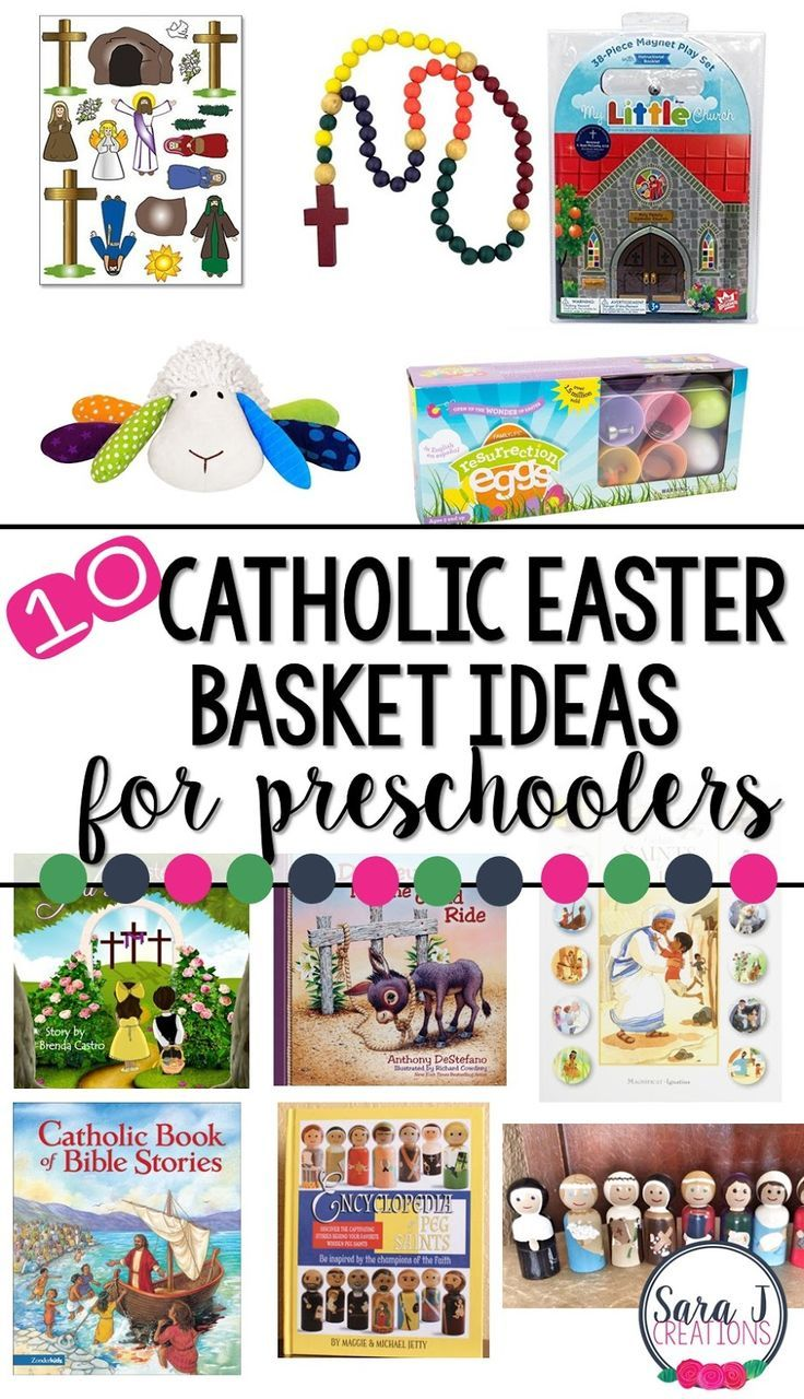 10 Catholic Easter Basket ideas for kids.  Fun ideas for teaching preschoolers that Easter is about Jesus.