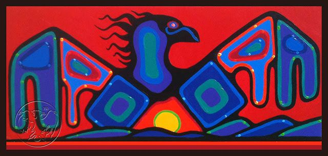 "Sunset Thunderbird  Ritchie Stardreamer Sinclair  acrylic on canvas, 18"" x 38"", 2012"