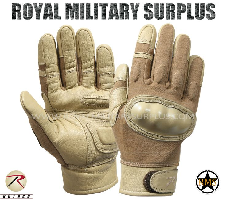Tactical Gloves - Hard Knuckles - COYOTE/TAN - 74,95$ (CAD) | COYOTE/TAN (Desert/Arid) Tactical Camouflage Pattern Army/Military/Commando/Special Forces Design Made following Military Specifications Leather & Goatskin Construction Flame, Heat & Cut Resistant Hard Knuckles (Molded) Water Repellent Adjustable Wrist (Hoop & Loop) BRAND NEW Available Sizes : S - M - L - XL - XXL http://www.royalmilitarysurplus.com/Gloves_c23.htm