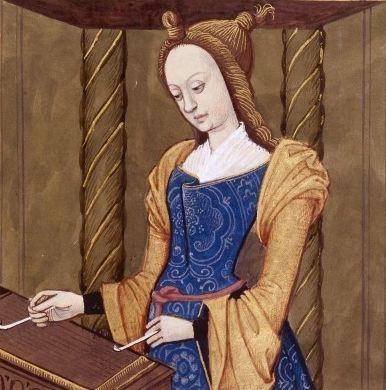 XXXV-Cassandre, fille de Priam, roi des Troyens, et d'Hécube. Elle joue du tympanon. (CASSANDRA, daughter of King Priam of Troy) -- Giovanni Boccaccio (1313-1375), Le Livre des cleres et nobles femmes, v. 1488-1496, Cognac (France), traducteur anonyme. -- Illustrations painted by Robinet Testard -- BnF Français 599 fol. 29 -- See more at: https://commons.wikimedia.org/wiki/File:Cassandre_BnF_Fran%C3%A7ais_599_fol._29.jpg