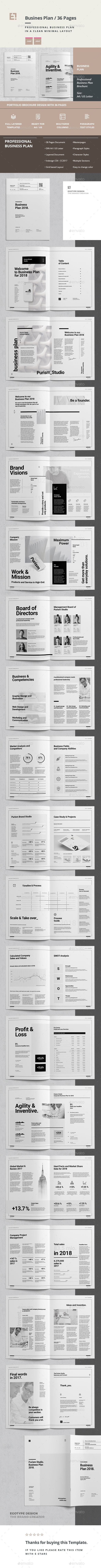 Professional Business Plan and Company Profile Template InDesign INDD - A4 and US Letter Size - 36 Custom Pages