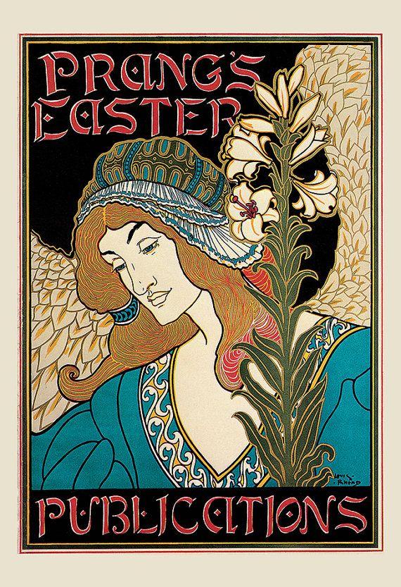 Beautiful Antique ART NOUVEAU POSTER by EncorePrintSociety on Etsy