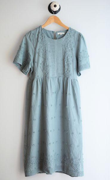 Stunning eyelet lace detailing Short Sleeve Midi Length 100% Cotton Hand wash/ Hang dry small: 0-4, medium: 4-8, large: 8-14