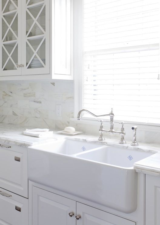 At Home in Arkansas: kitchen cabinets painted Benjamin Moore White Dove, farmhouse sink, calcutta ...