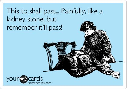 This too shall pass... Painfully, like a kidney stone, but remember itll pass!