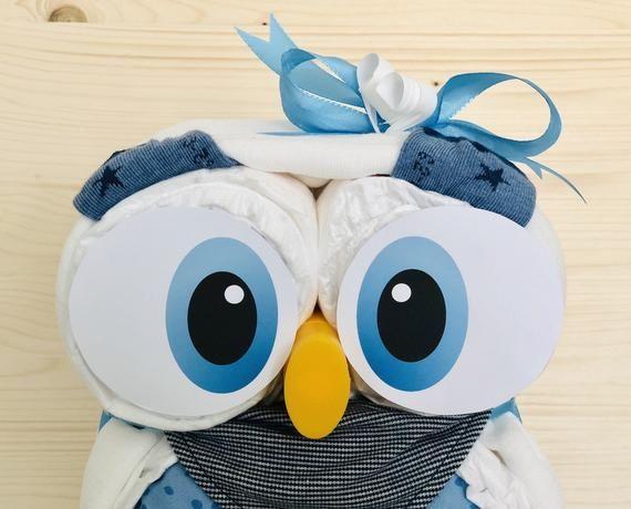 Windeleule blau Windeltorte Mädchen Junge Geschenk zur GeburtTaufe Babygeschenk