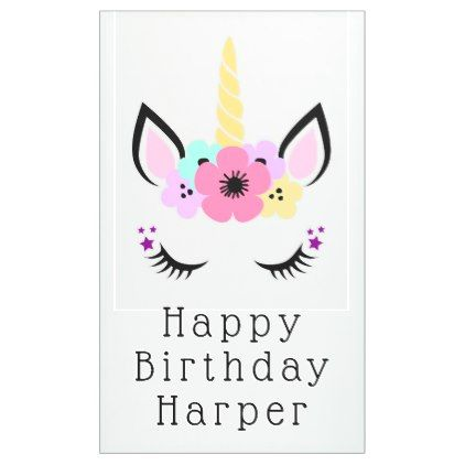 Happy Birthday | Magical Unicorn Banner - unicorn birthday diy gift idea present unicorns customize