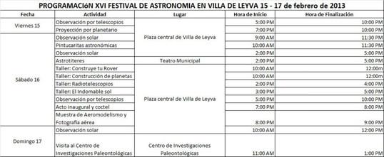Programación Oficial  XVI Festival de Astronomía de Villa de Leyva del 15 al 17 de febrero.