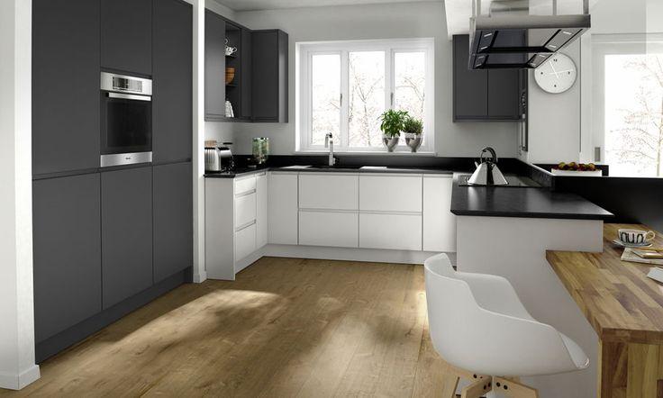 Remo Porcelain kitchen.  Dark grey handleless kitchen.
